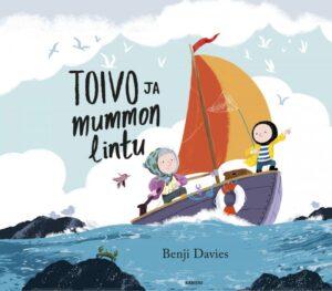 Kirjan kansikuva, jossa poika ja mummo ovat veneessä.
